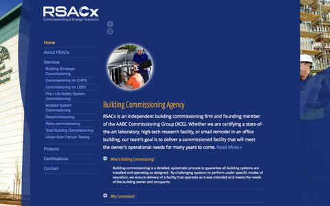Screenshot of Home Page rsacx.com - Building Commissioning Agency | RSACx - captured Sept. 26, 2014