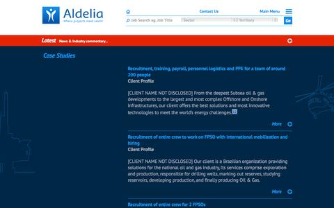 Screenshot of Case Studies Page aldelia.com - Case Studies | Aldelia - captured Sept. 30, 2014