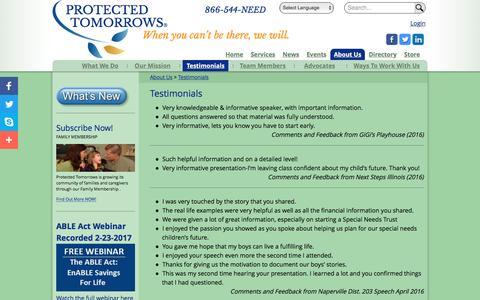 Screenshot of Testimonials Page protectedtomorrows.com - Testimonials | PROTECTED  TOMORROWS - captured May 23, 2017