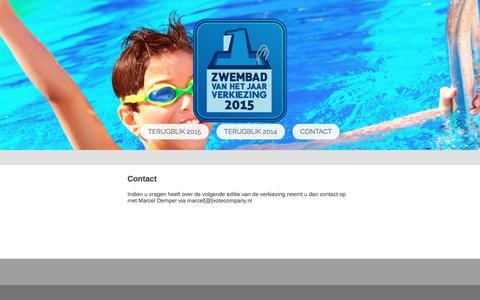 Screenshot of Contact Page zwembadvanhetjaar.nl - Contact - Zwembad van het Jaar Verkiezing - captured Dec. 4, 2016