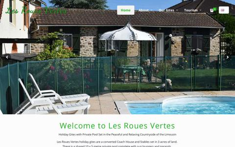 Screenshot of Home Page lesrouesvertes.com - Les Roues Vertes Holiday Gites in Limousin France - captured July 18, 2018