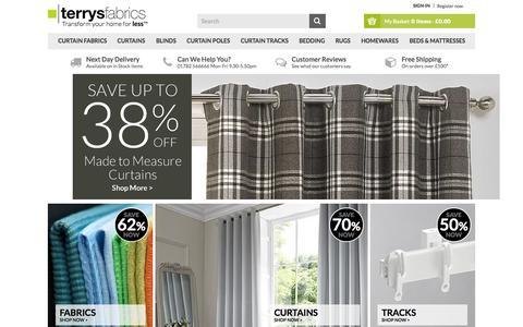 Screenshot of Home Page terrysfabrics.co.uk - Terrys Fabrics UK | Fabric, Blinds, Curtains, Beds & More! - captured Oct. 1, 2015