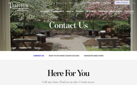 Screenshot of Contact Page trinitymemorialgardens.com - Contact Us   Trinity Memorial Gardens - captured Oct. 20, 2018