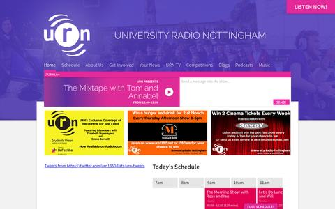 Screenshot of Home Page urn1350.net - URN: University Radio Nottingham - captured Nov. 17, 2015