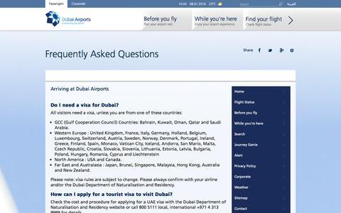 Screenshot of FAQ Page dubaiairports.ae - FAQs - captured Jan. 8, 2016