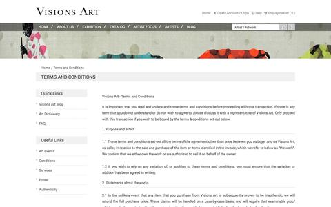 Screenshot of Terms Page visionsarts.com - Gallery for Modern and Contemporary Indian Art - captured Oct. 26, 2014