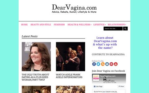 Screenshot of Home Page dearvagina.com - Lifestyle | Relationships |Style | and everything in between - captured June 14, 2016