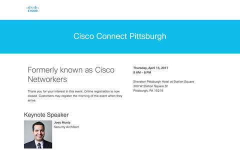 Screenshot of Landing Page cisco.com - Cisco - captured April 13, 2017