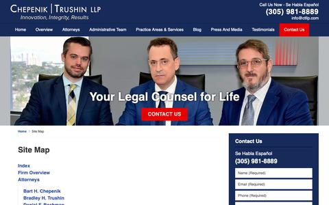 Screenshot of Site Map Page miamifloridaestateplanninglawyer.com - Site Map | Miami Estate Planning Lawyers Chepenik Trushin LLP - captured Sept. 27, 2018
