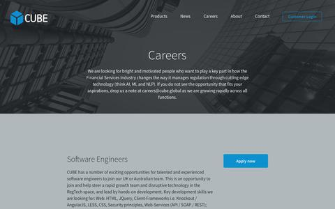 Screenshot of Jobs Page cube.global - CUBE Careers - captured Aug. 21, 2017