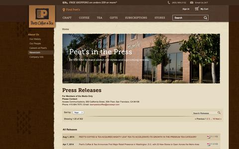 Screenshot of Press Page peets.com - Newsroom - captured Sept. 19, 2014
