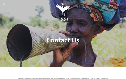 Screenshot of Contact Page 1000shillings.com - Contact Us Ń 1000 Shillings - captured Jan. 12, 2016