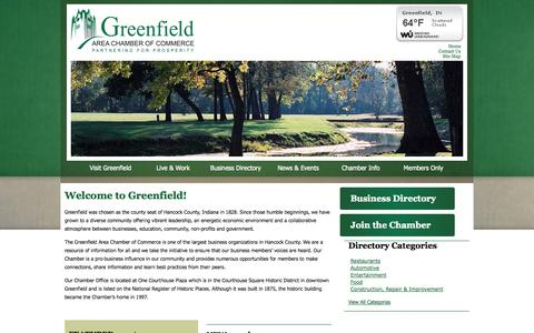 Screenshot of Home Page greenfieldcc.org - Greenfield Chamber of Commerce | Greenfield, IN - captured Oct. 3, 2014