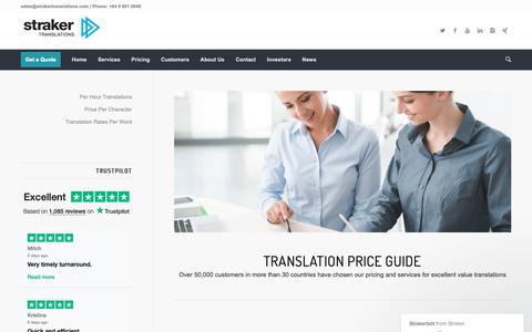 Screenshot of Pricing Page strakertranslations.com - Professional Translation Price Guide | Straker Translations - captured Feb. 1, 2019