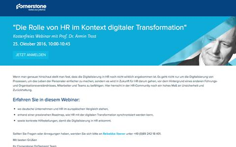 "Screenshot of Landing Page cornerstoneondemand.com - Webinar - ""Die Rolle von HR im Kontext digitaler Transformation"" - captured Oct. 29, 2016"