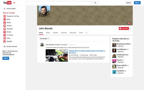 Screenshot of YouTube Page youtube.com - John Biondo  - YouTube - captured Oct. 25, 2014