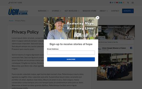 Screenshot of Privacy Page ugmsalem.org - Privacy Policy - Union Gospel Mission - captured Oct. 18, 2018