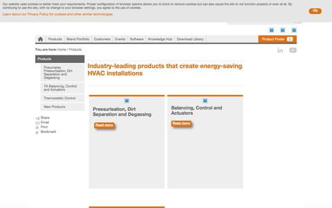 Screenshot of Products Page imi-hydronic.com - Industry-leading products that create energy-saving HVAC installations - captured Nov. 22, 2017