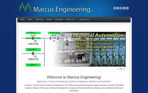 Screenshot of Home Page marcusengineering.com - Marcus Engineering, LLC | Electrical Engineering, Electronics, Instrumentation, Industrial Automation - captured Nov. 15, 2018