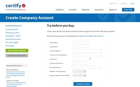 Screenshot of Trial Page certify.com - Certify Create AccountCertify Free Trial - captured July 18, 2014