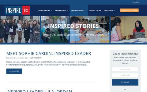 Screenshot of Blog inspire-usa.org - Inspired Stories - Inspire U.S. - captured July 11, 2018
