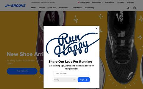 Screenshot of Home Page brooksrunning.com - Brooks Running Shoes, Apparel, and Sports Bras | Brooks Running.com - captured May 9, 2018