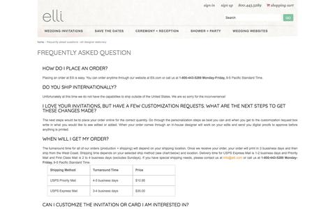 Screenshot of FAQ Page elli.com - Frequently Asked Questions - Elli Designer Stationery - captured Sept. 27, 2017