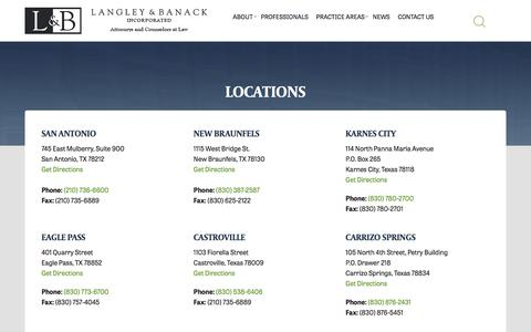 Screenshot of Contact Page Locations Page langleybanack.com - Locations - Langley & Banack - captured Oct. 23, 2016
