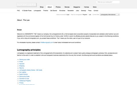 Screenshot of Privacy Page lomography.com - The Law – Lomography - captured Sept. 16, 2014