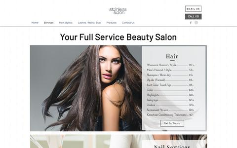 Screenshot of Services Page stainlesssalon.com - Services | Stainless Salon| Encinitas| Hair Salon - captured Oct. 19, 2018