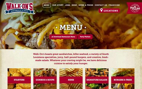 Screenshot of Menu Page walk-ons.com - Menu | Walk-On's Bistreaux & Bar - captured Oct. 27, 2014