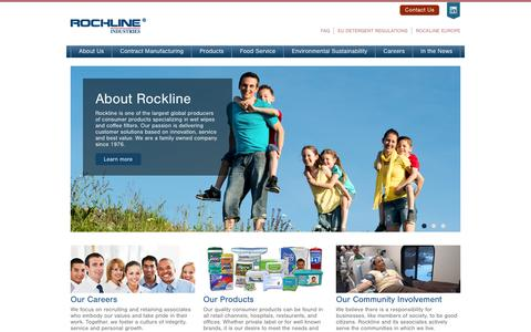Screenshot of Home Page Menu Page rocklineind.com - Rockline Industries | Wet Wipes and Coffee Filters Manufacturer - captured Oct. 6, 2014