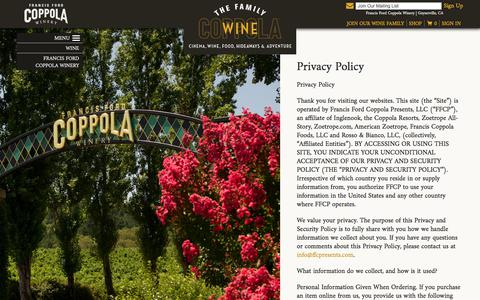 Screenshot of Privacy Page francisfordcoppolawinery.com - Francis Ford Coppola Winery - captured June 6, 2017