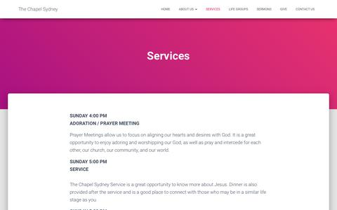 Screenshot of Services Page thechapelsydney.org.au - Services – The Chapel Sydney - captured Sept. 21, 2018