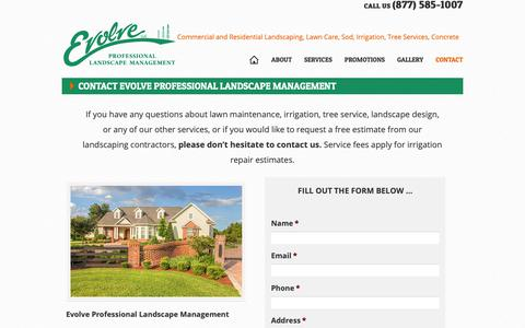 Screenshot of Contact Page evolveyourlawn.com - Contact Evolve Professional Landscape Management - Evolve Professional Landscape Management - captured Sept. 29, 2018