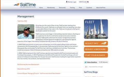 Screenshot of Team Page sailtime.com - SailTime Management - captured Sept. 30, 2014