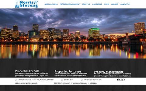 Screenshot of Home Page norris-stevens.com - Norris & Stevens - Portland OR - captured Sept. 23, 2014