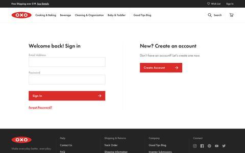 Screenshot of Login Page oxo.com - Customer Login - captured Dec. 10, 2018