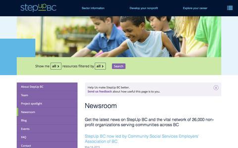 Screenshot of Press Page stepupbc.ca - Newsroom   StepUp BC - captured Aug. 16, 2016