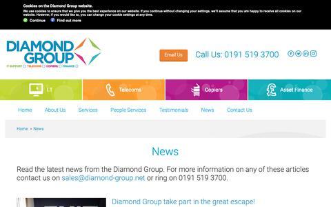 Screenshot of Press Page diamond-group.net - Diamond Group   News from the Diamond Group - captured Oct. 24, 2018