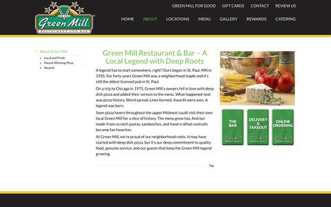 Screenshot of About Page greenmill.com - About Us | Over 20 Locations in the Midwest | Green Mill Restaurant & Bar - captured Sept. 20, 2017