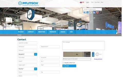 Screenshot of Contact Page pflitsch.de - PFLITSCH - captured Oct. 1, 2014