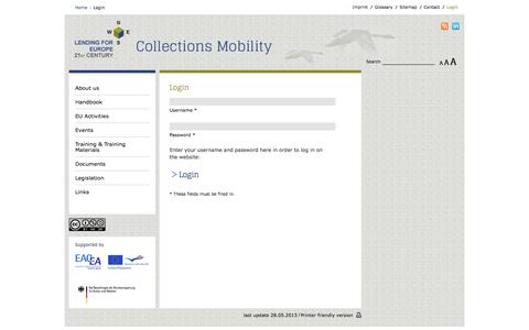 Screenshot of Login Page lending-for-europe.eu - Lending for Europe - Collections Mobility - Login - captured June 17, 2016