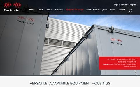 Screenshot of Products Page portastor.com - Flexible modular equipment housings for multiple sectors - captured Nov. 5, 2018