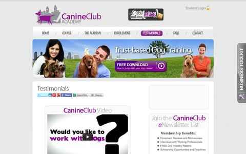Screenshot of Testimonials Page canineclubacademy.com - Canine Club Academy - Become a Certified Dog Trainer and Start an Exciting New Career! - captured Dec. 7, 2015
