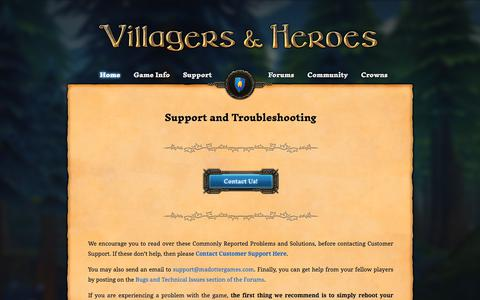 Screenshot of Support Page Terms Page villagersandheroes.com - Support | Villagers & Heroes - captured Jan. 26, 2018