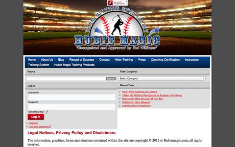 Screenshot of Terms Page hubiemagic.com - Legal Notices, Disclaimer, Privacy Policy | - captured Nov. 3, 2014