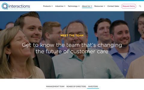 Screenshot of Team Page interactions.com - Investors - Interactions - captured Feb. 8, 2019