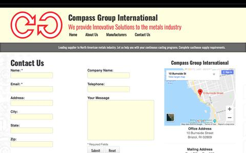 Screenshot of Contact Page compassgi.com - Compass Group International - Contact Us - captured Sept. 29, 2018