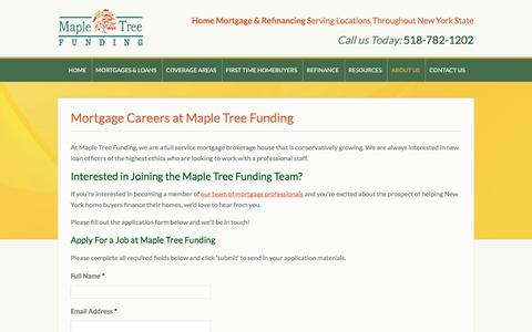 Screenshot of Jobs Page mapletreefunding.com - Work as a Mortgage Professional - Mortgage Jobs At Maple Tree Funding - captured Sept. 20, 2018